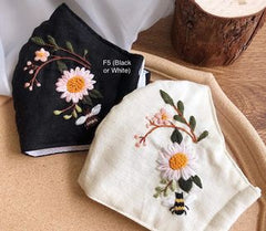 Embroidered Bee & Flower Face Mask - BlueTagBridal