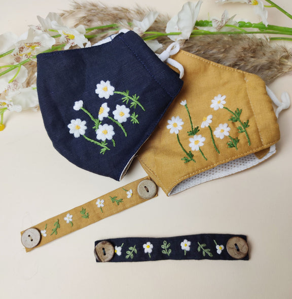 Hand-Embroidered Face Mask Holder/ Ear Saver - BlueTagBridal