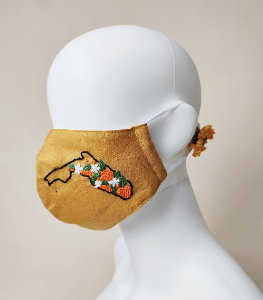 Embroidered States & Flower Pattern Face Mask with Nose Wire - BlueTagBridal