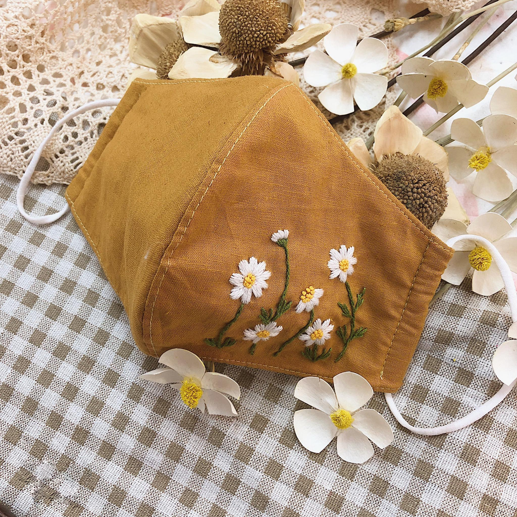 Embroidered Daisy Face Mask - BlueTagBridal