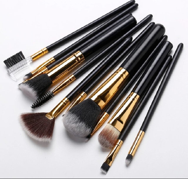 Face2be 12 pcs Professional Makeup Brushes Set Black