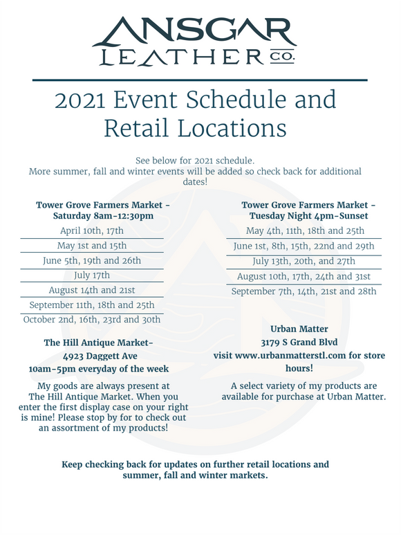 2021 Market Schedule and Retail Locations