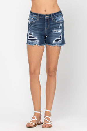 Judy Blue Mid Rise Patch Shorts- 15205