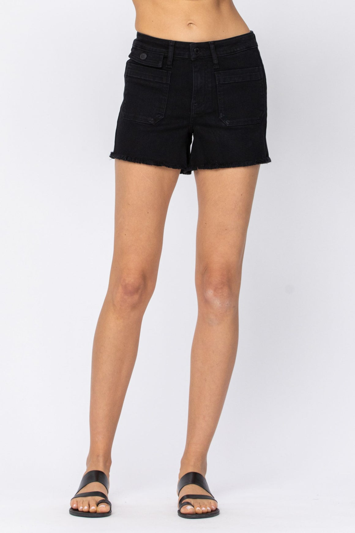 Judy Blue Cargo Patch Pocket Black Short- 150067