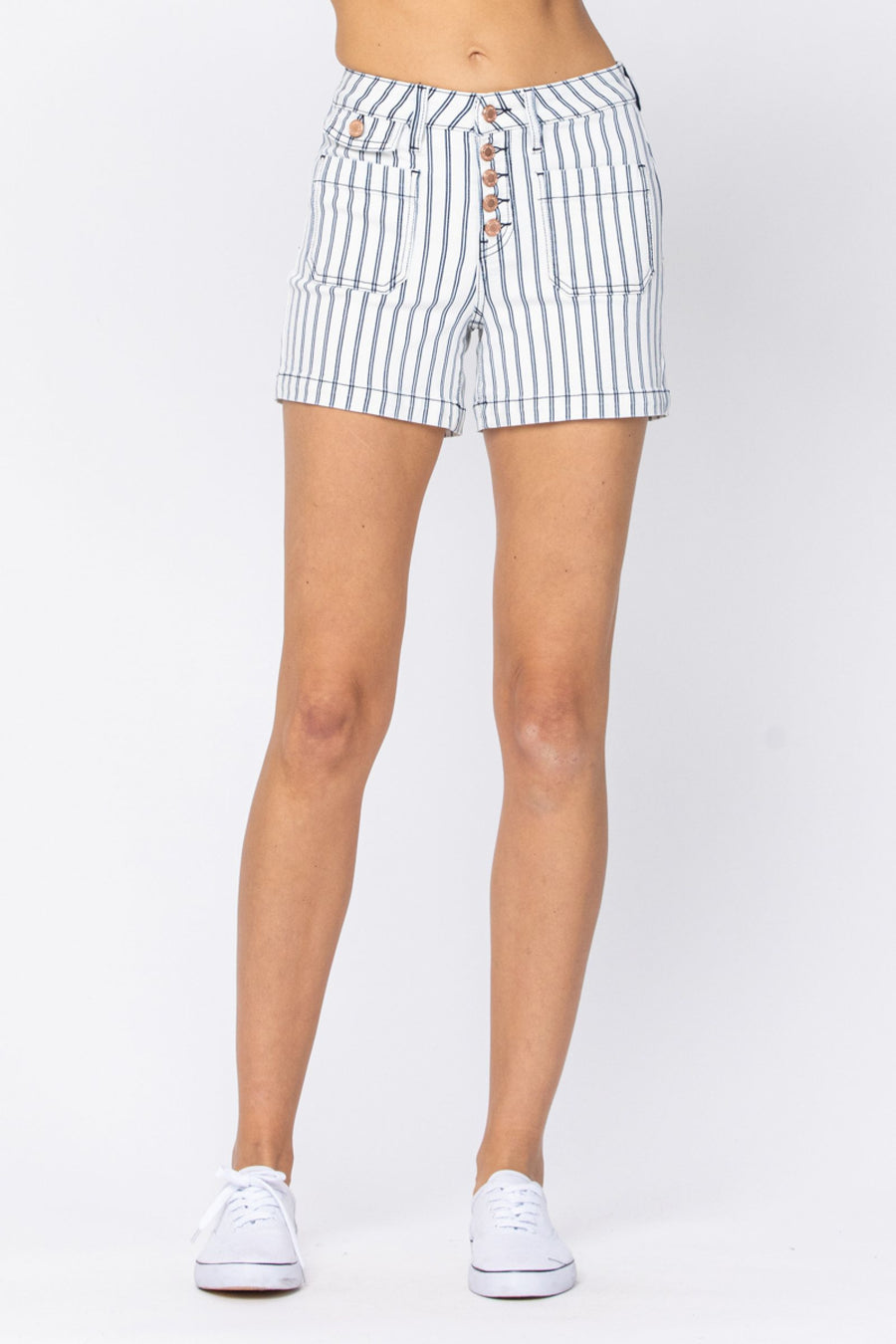 Judy Blue High Waist Stripe Short- 150078