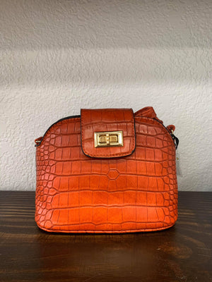 Orange Croc Crossbody Purse