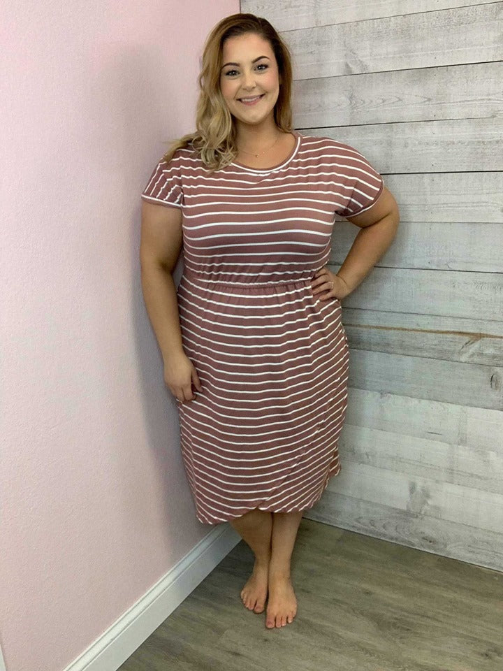 Dress- Mauve & Ivory Stripe