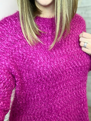 """Up For Anything"" Fuchsia Knit Sweater"