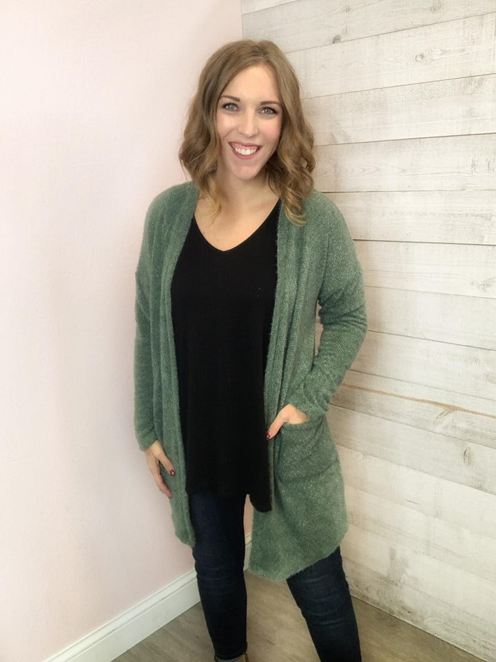 """Smile for Me"" Olive Cardigan"