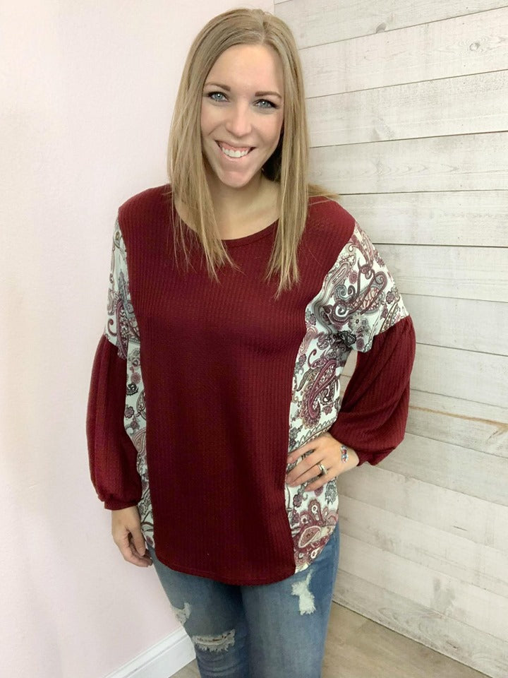 """Wild Winds"" Ivory and Burgundy Top"