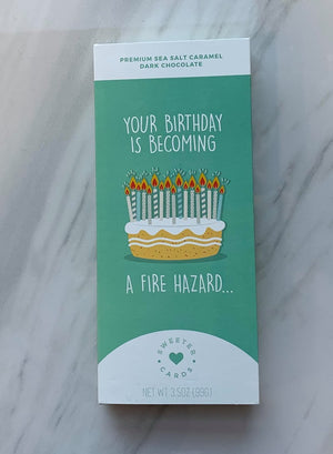 Fire Hazard Birthday Chocolate Card