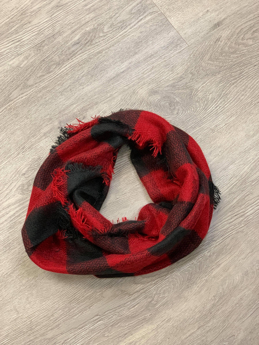 Red and Black Plaid Infinity Scarf
