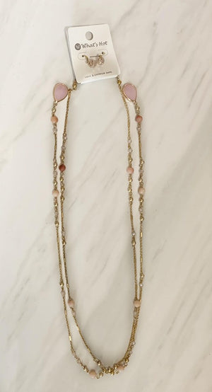Blush Teardrop Wrap Necklace
