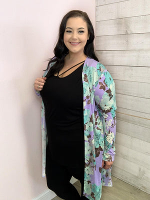 """My Obsession"" Lavender Floral Cardigan"
