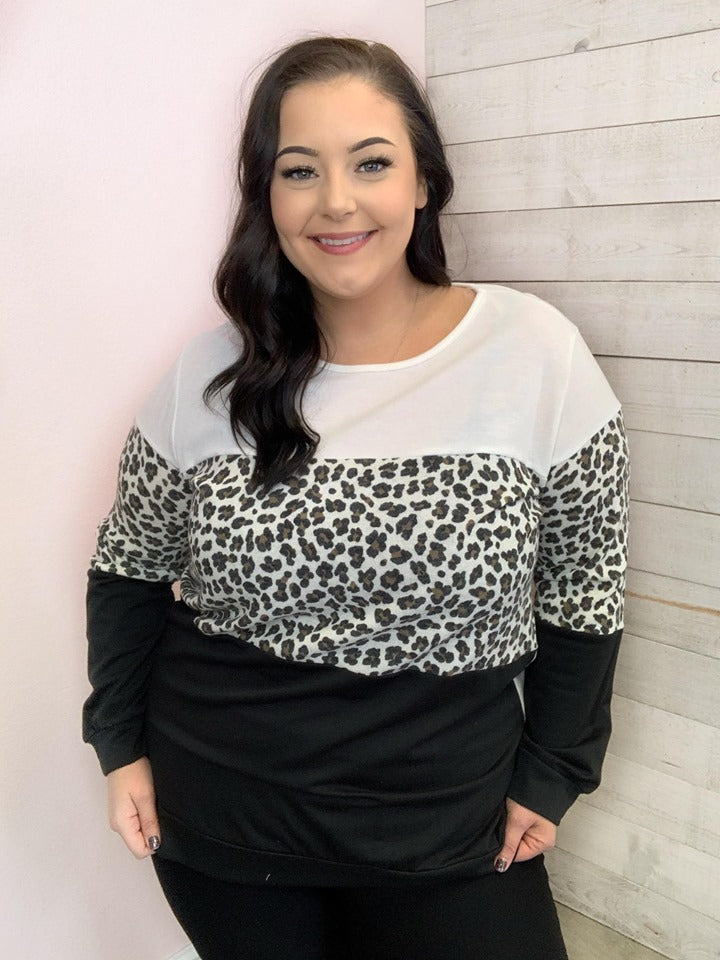 """Wild Side"" Ivory and Animal Print Color Block Sweater"