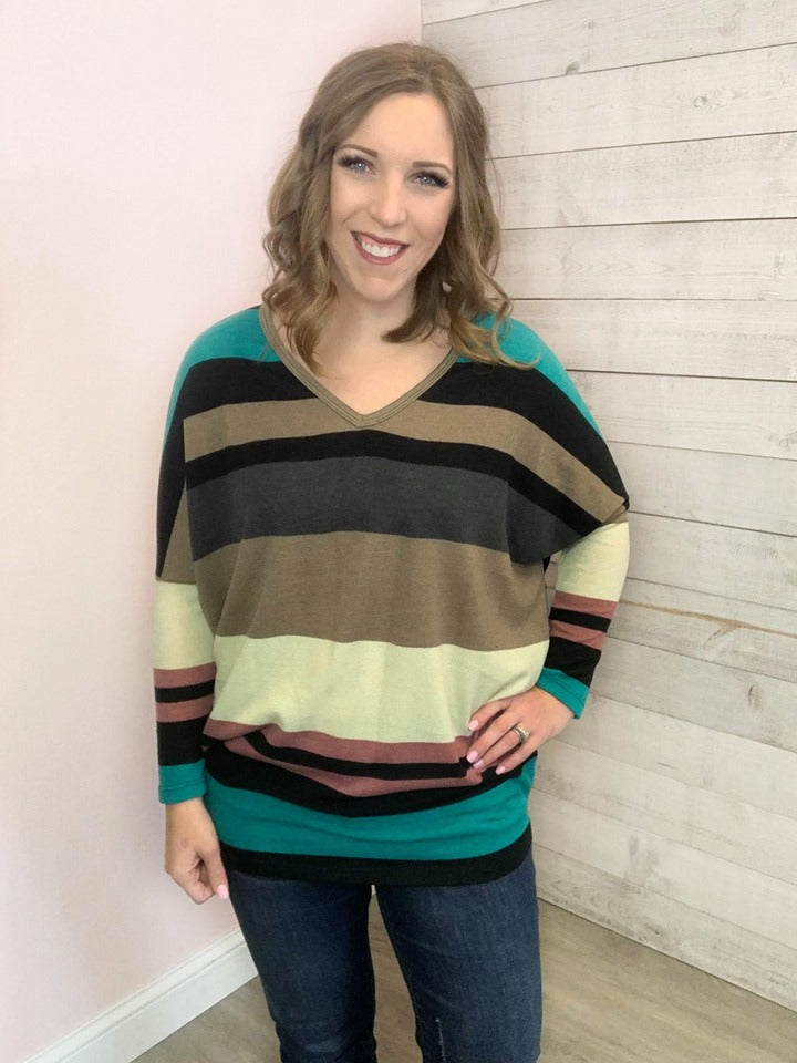 """Something More"" Jade and Mauve Stripe Top"