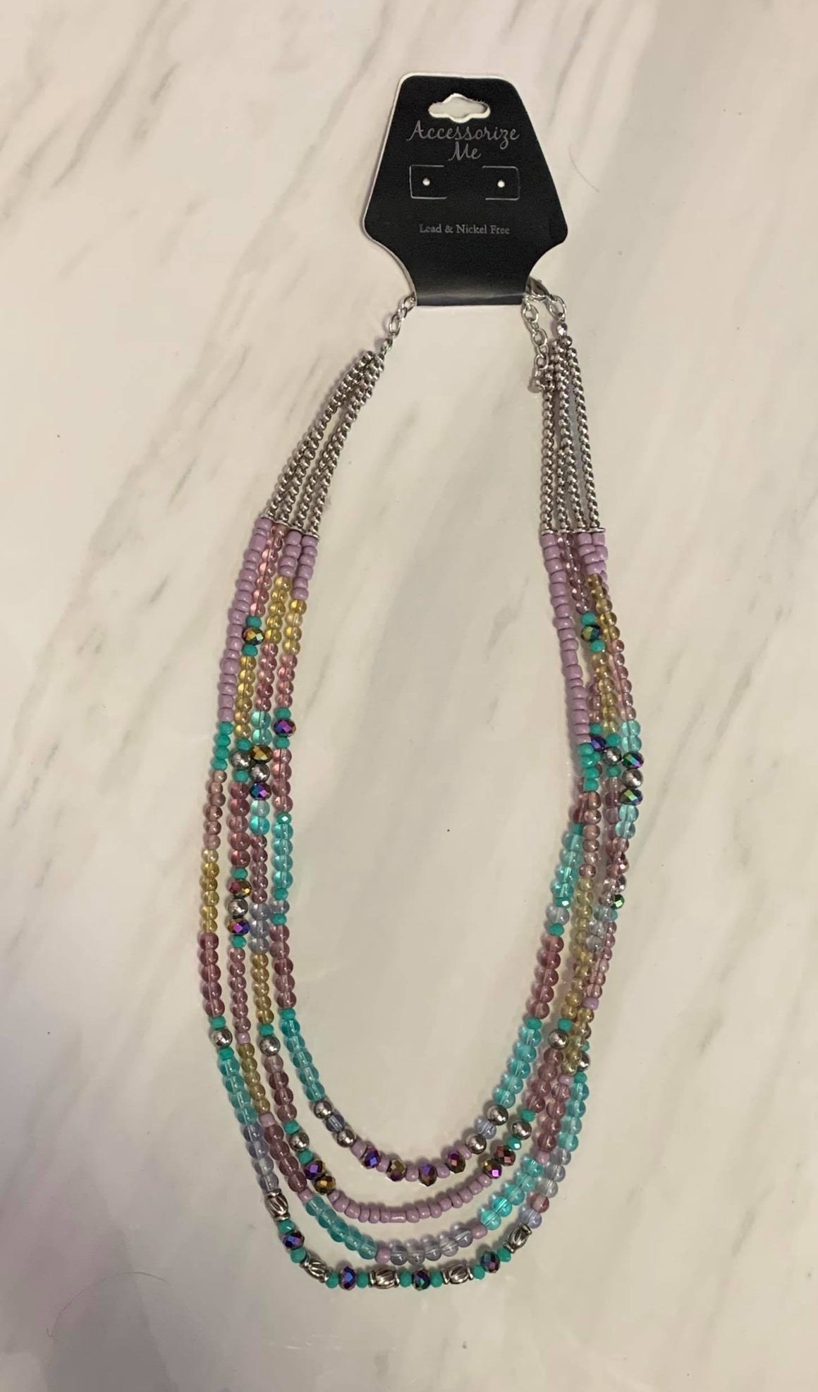 Purple and Teal Beaded Necklace