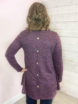 """Take Your Time"" Plum Top w/ Button Detail"