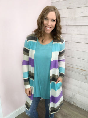 """Spring Fever"" Purple and Aqua Cardigan"