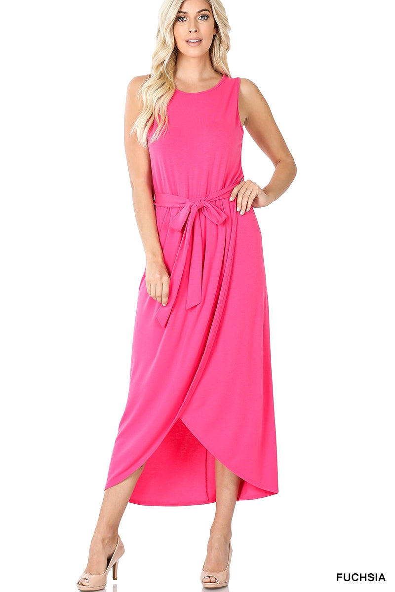 """Too Sweet"" Sleeveless Dress- Hot Pink"