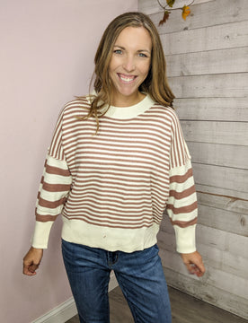 """""""Stunning In Stripes"""" Striped Knit Sweater"""