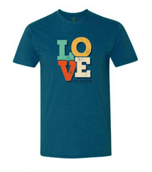 """Love"" Teal Graphic Tee"