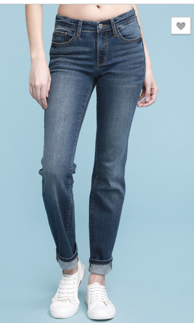 Dark Wash Cuffed Straight Fit Judy Blue 82356