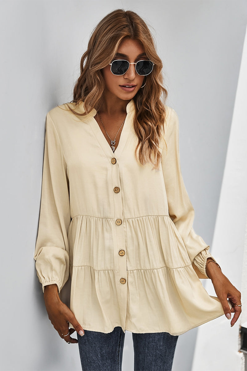 """Modern Romance"" Beige Button Down Top"