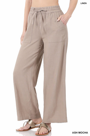 """Work It"" HighWaist Woven Pant with Drawstring- Mocha"