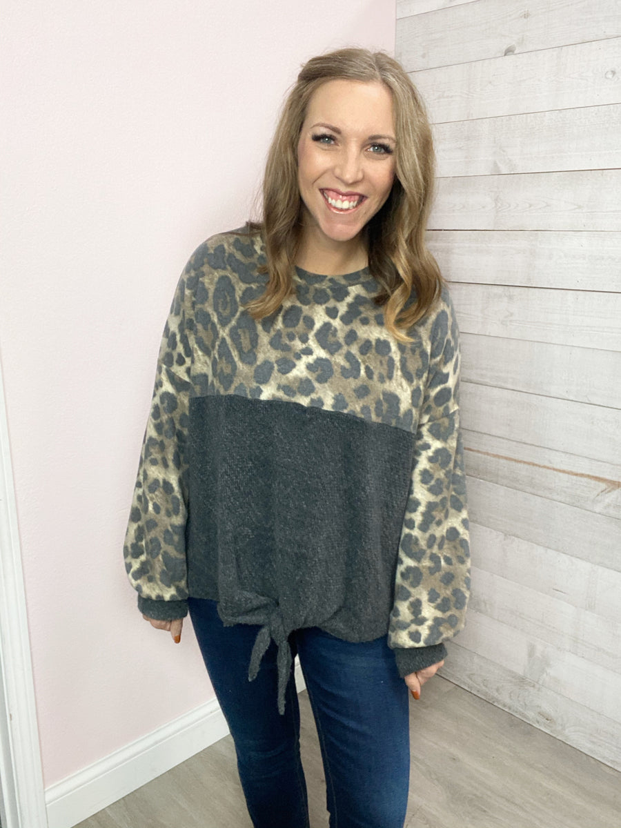 """Bold and Beautiful"" Charcoal and Leopard Top"