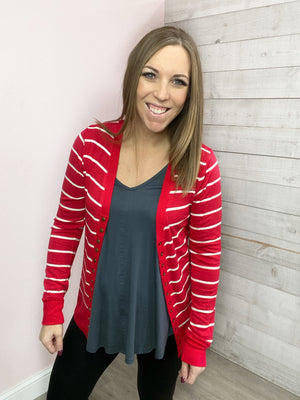 "BF ""Wild Start"" Button Cardigan (Ruby)"