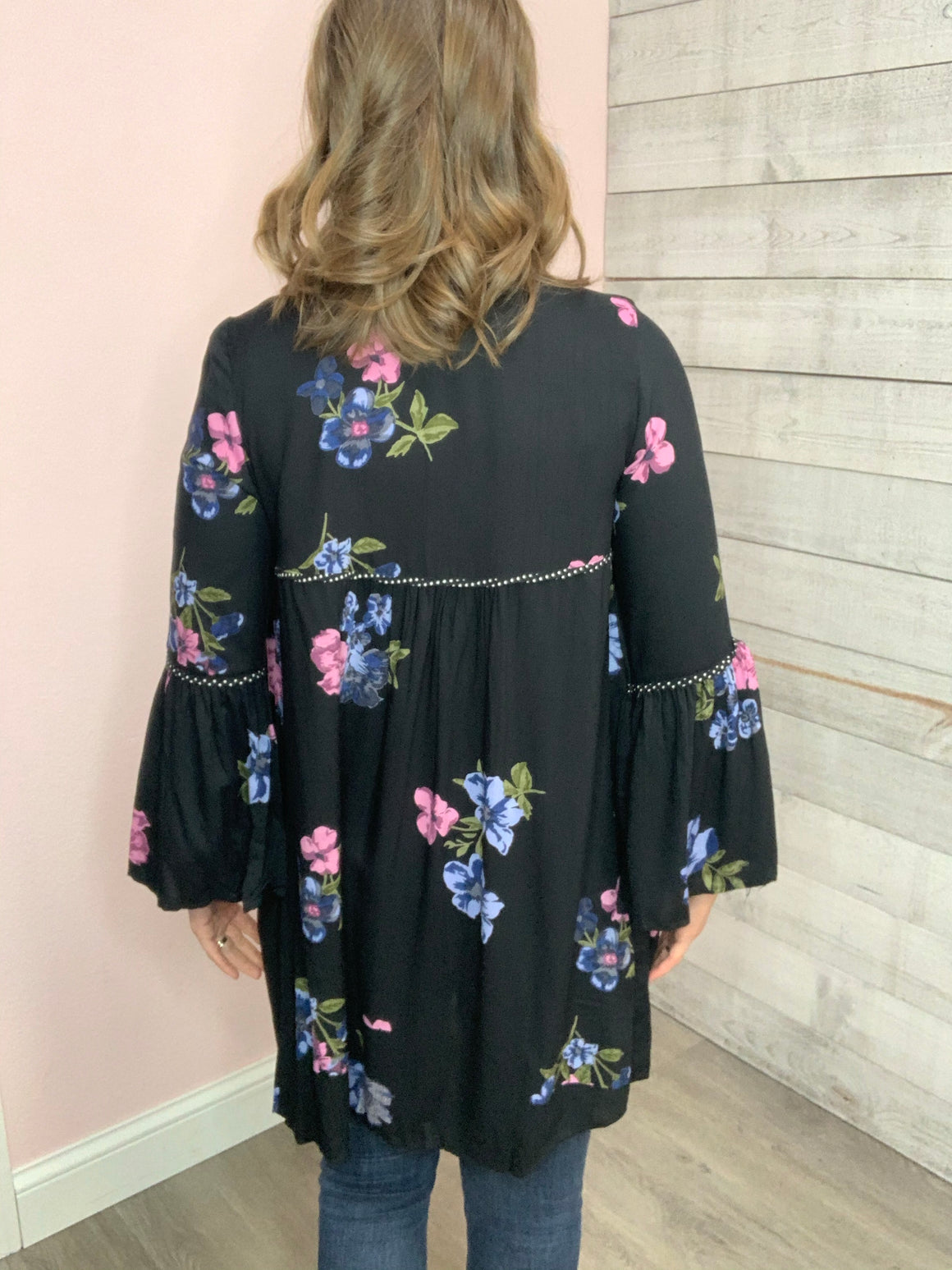 """Run the World"" Black Floral Kimono"