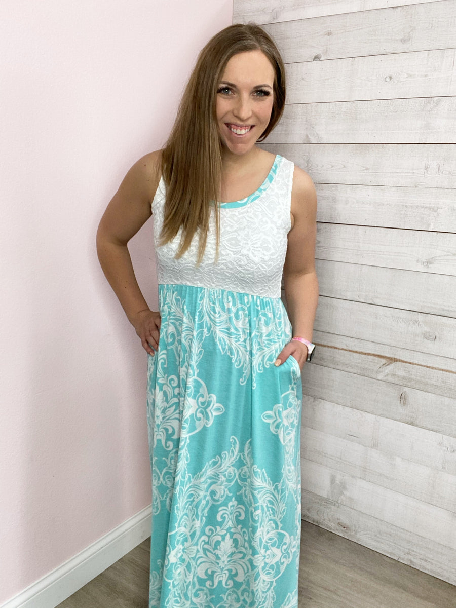 """Ocean Views"" Lace Maxi Dress with Pockets"