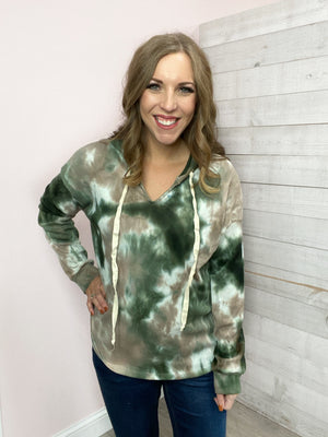 """Neutral Ground"" Green/Taupe Tie Dye Top"