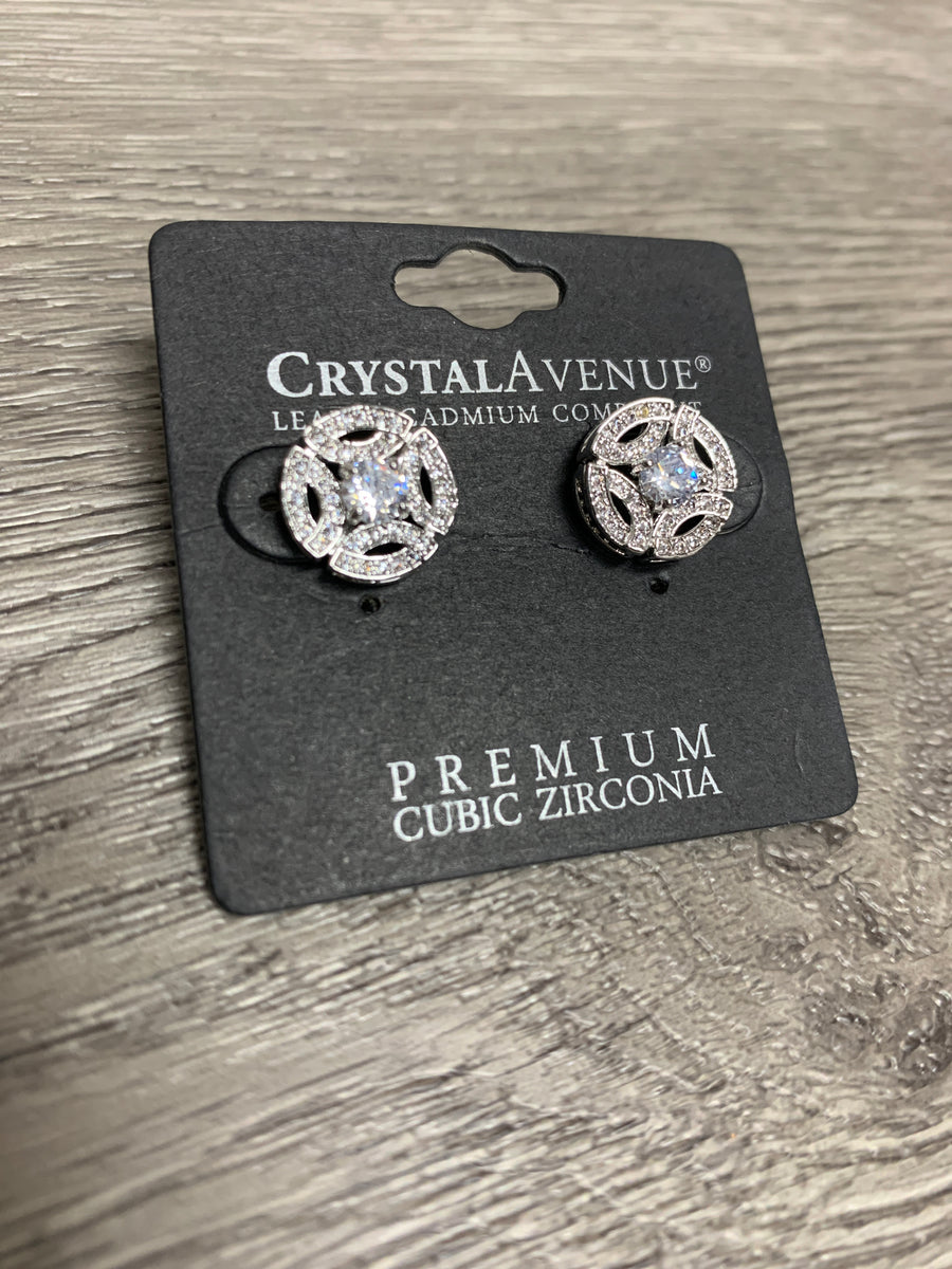 Silver Round Stud Earrings am400