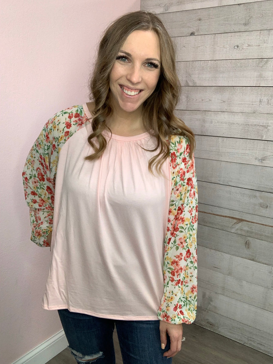 """Honey Do"" Blush Blush Top w/ Floral Sleeves"