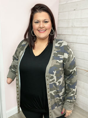 "BF ""Wild Start"" Button Cardigan (Camo)"