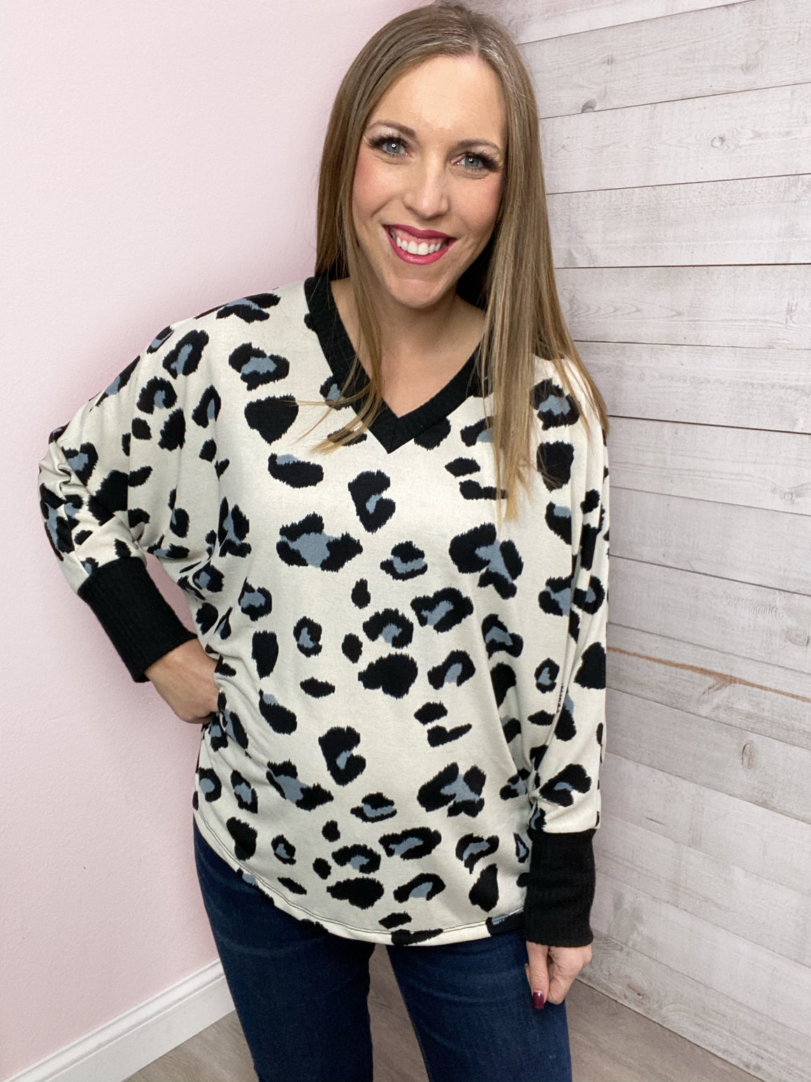"""Spots On"" Ivory Leopard Top"
