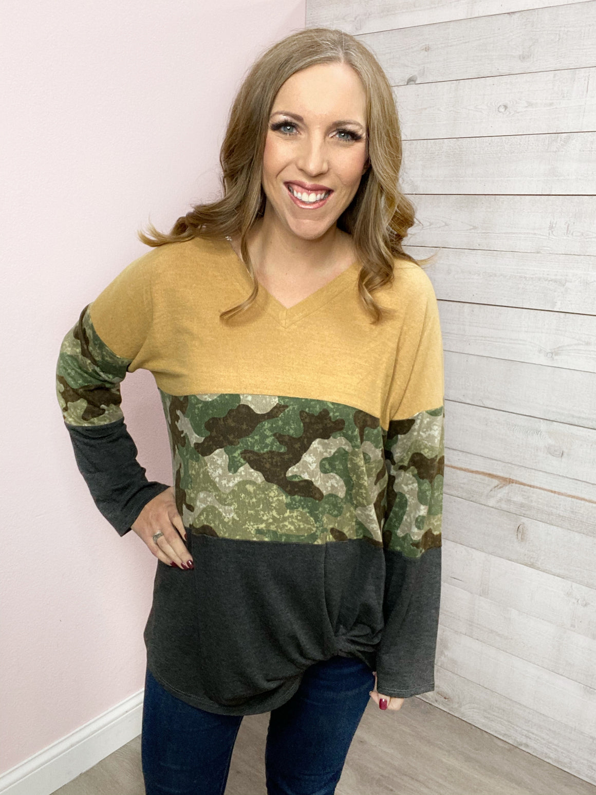 """Show Down"" Mustard Color Block Top"