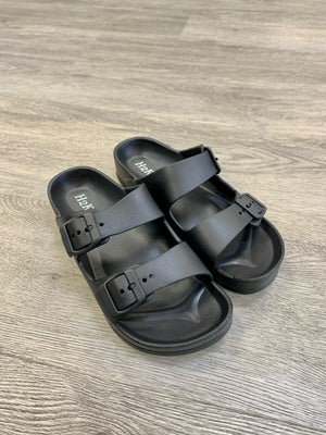 """Sun and Sand"" Buckle Slide on Sandal -Black"