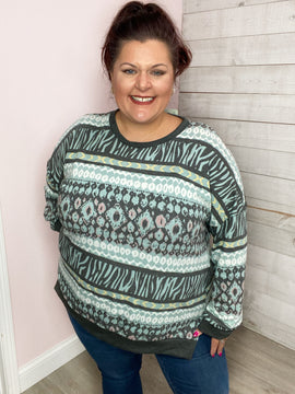 """""""Never Compromise"""" Teal Multi Pattern Top"""