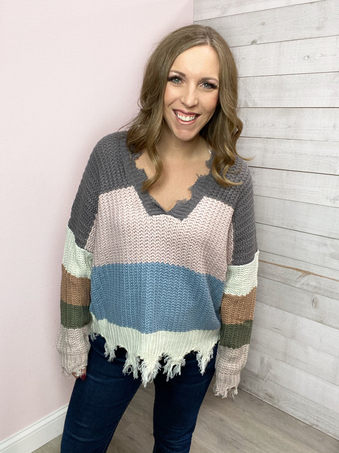 """New Space"" Charcoal/Blush Distressed Sweater"