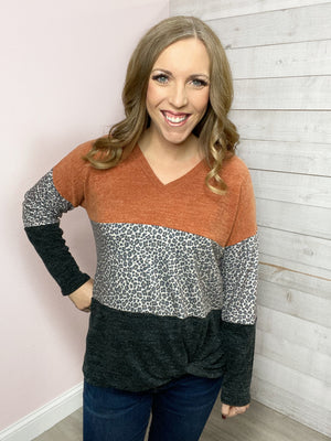 """Out Of It"" Rust Color Block Top"