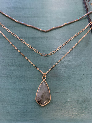 Gold Layered Tear Drop Necklace