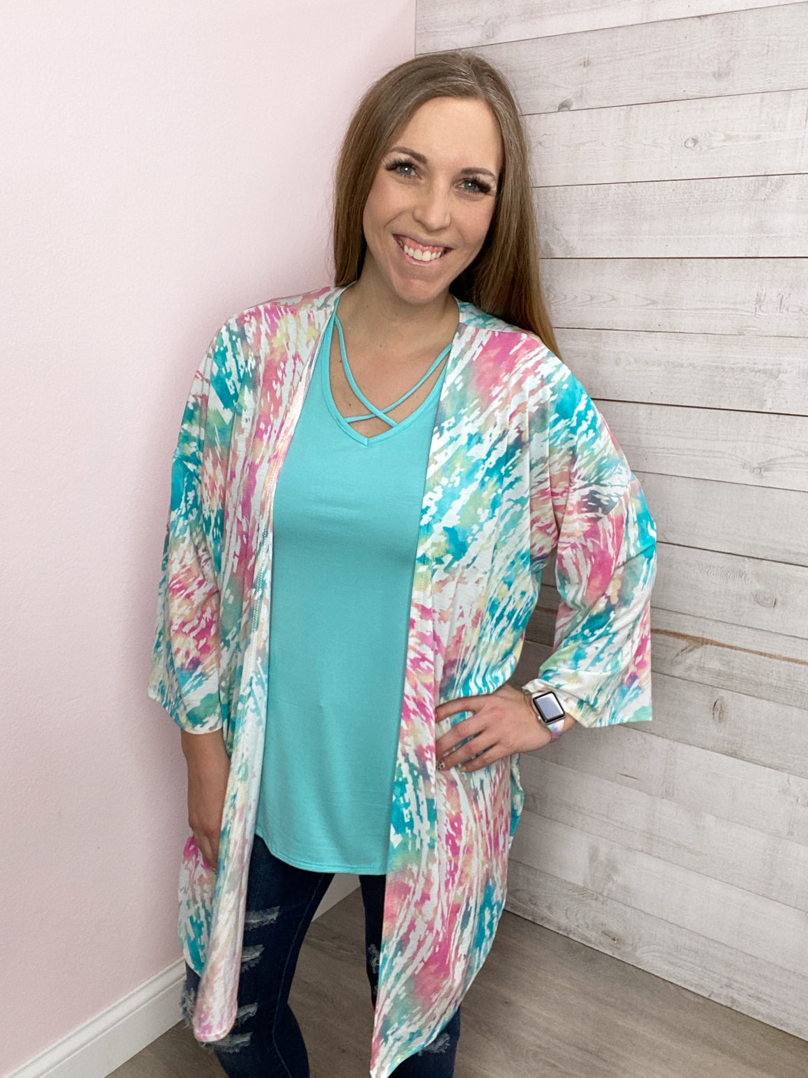 """Sweetest Fortune"" Tie Dye Kimono with Side Slit"
