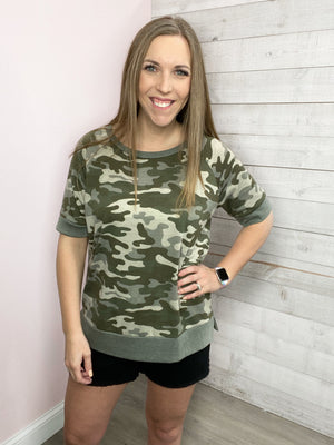 """Ready To Go"" Camo Short Sleeve Top"