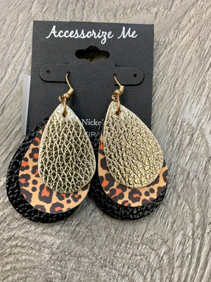 Gold & Black Leopard Teardrop Earrings