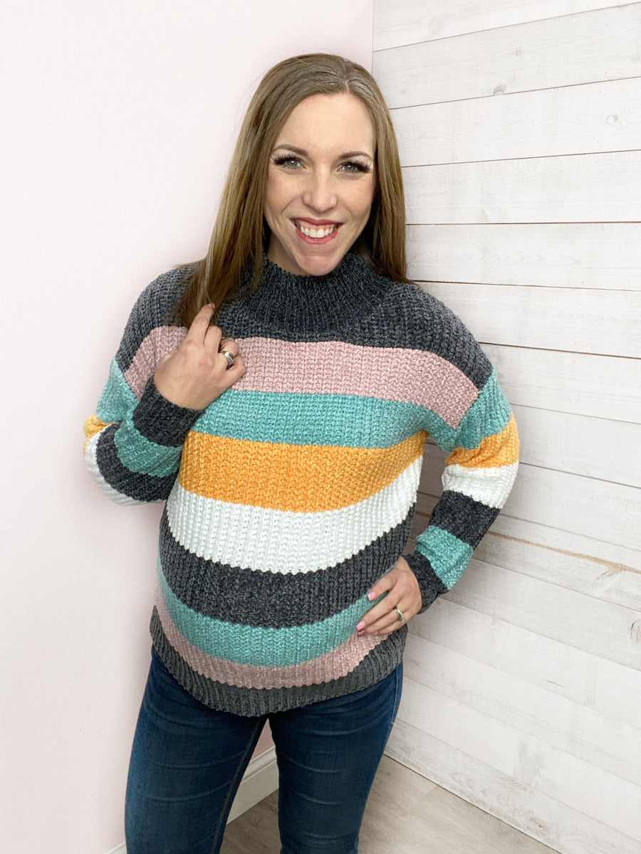 """Smooth Operator"" Soft Multi Colored Stripe Sweater"