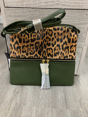 PR2340 Cheetah/Solid Crossbody Purse