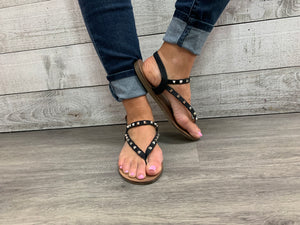 """On the Edge"" Black Sandals"